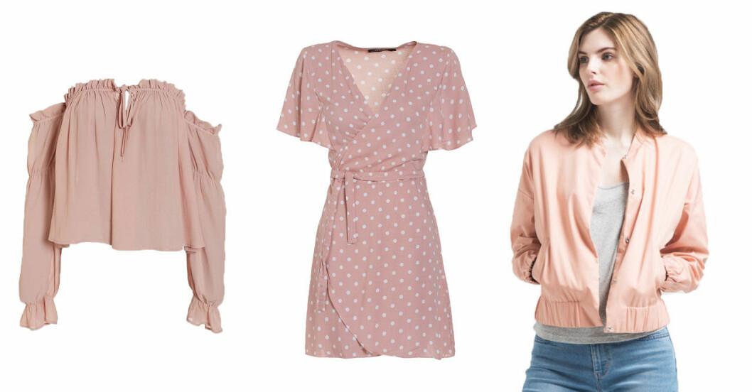 Klänningar, toppar, blusar och jackor i rosa.