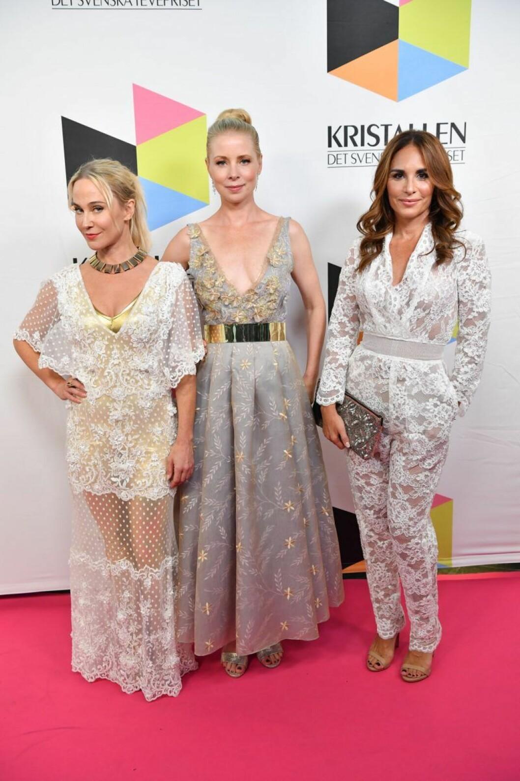 Anja Lundqvist, Julia Dufvenius och Alexandra Rapaport på Kristallen 2019