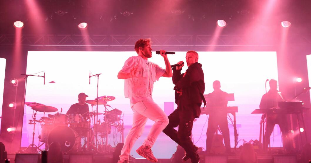 Benjamin Ingrosso & Felix Sandman uppträder på Allsång på Skansen 9 juli 2019.
