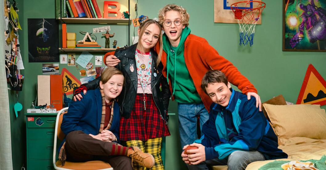 Bert med vännerna Thora, Lill-Erik och Åke.