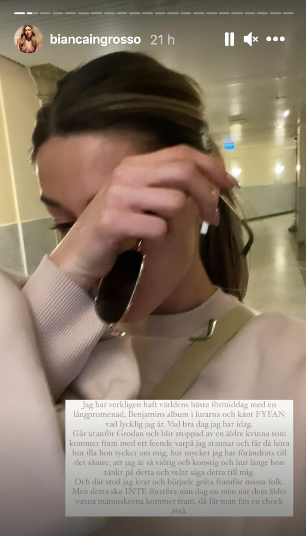 Bianca Ingrossos inlägg.