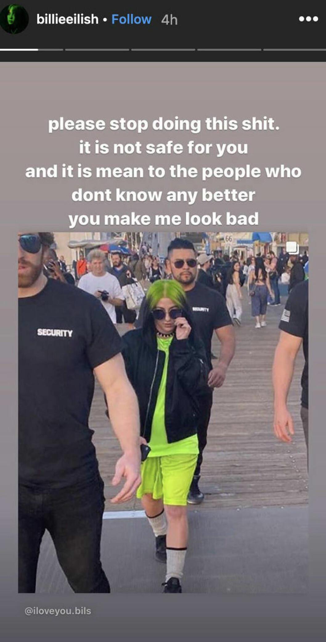Billie Eilish Instagram-story