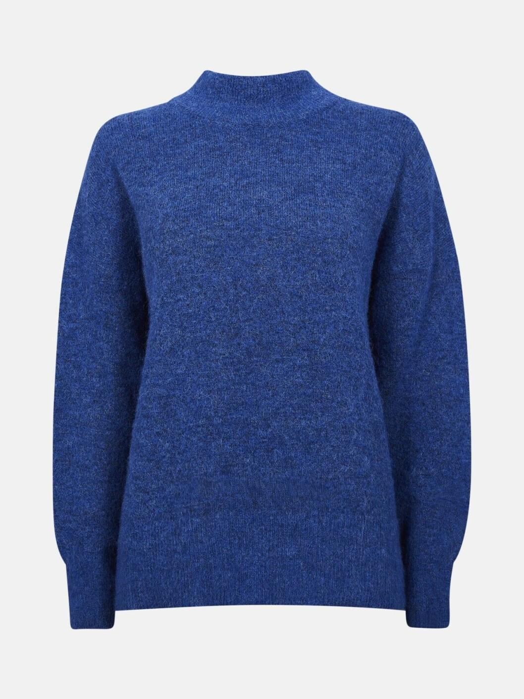 Blå stickad polotröja till vintern 2019