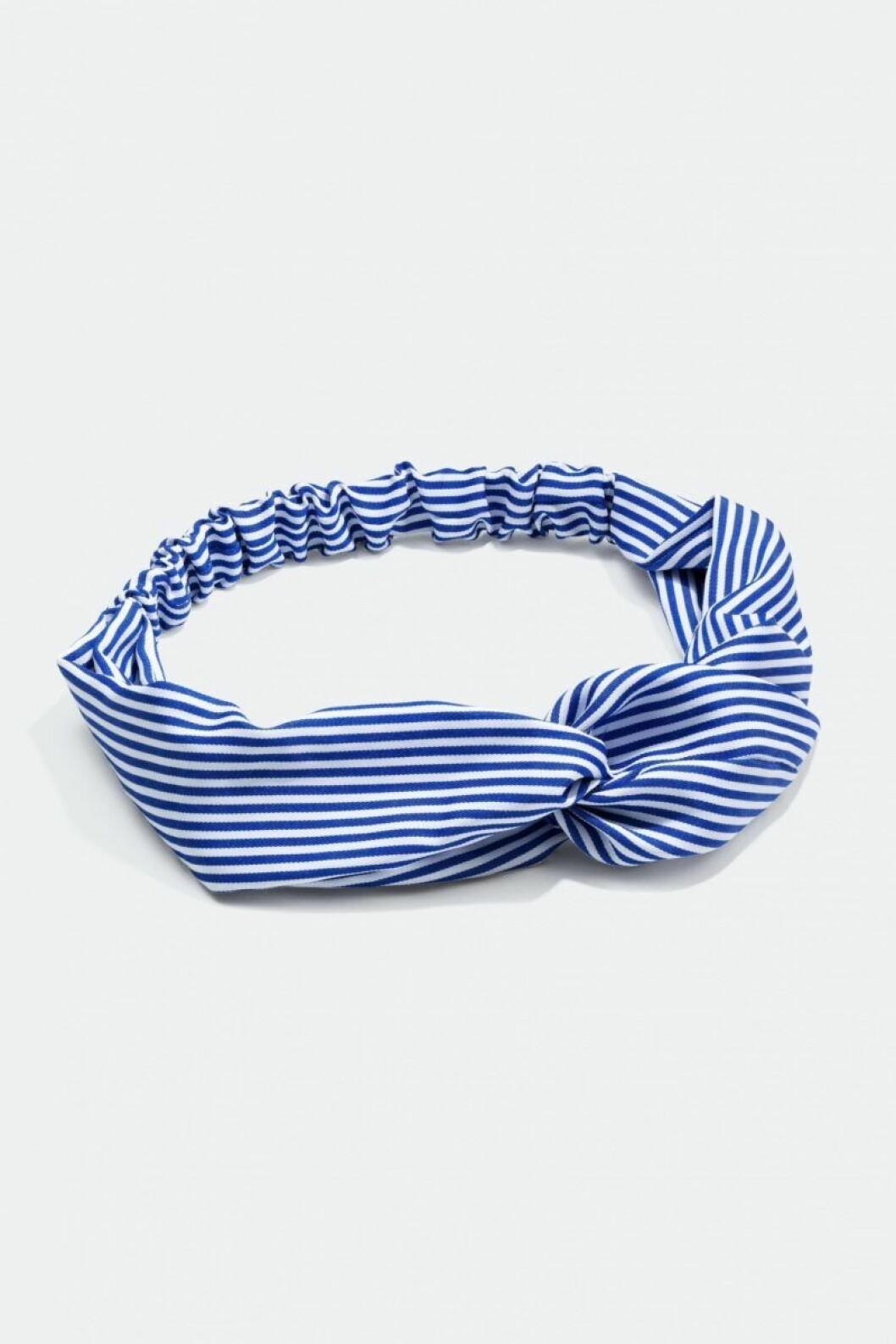 Blåvitrandigt hårband