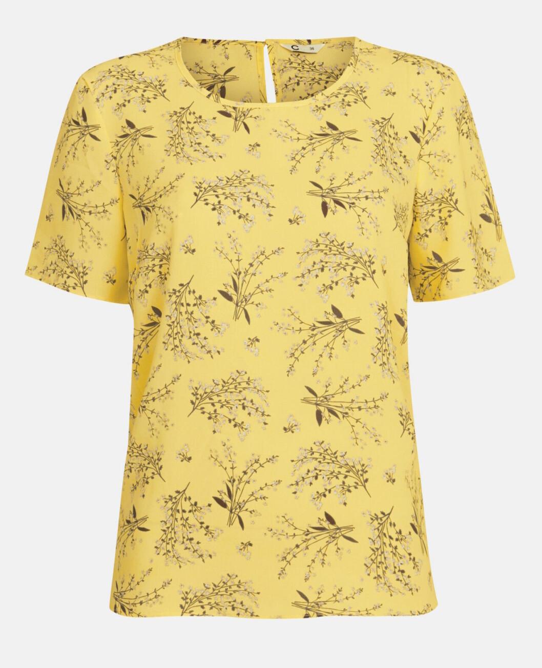 Blommig gul t-shirt för dam till 2019