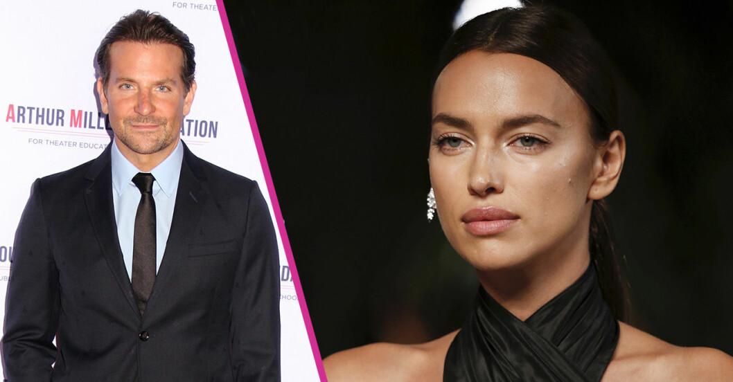 Bradley Cooper och Irina Shayk i en splitbild på två delar