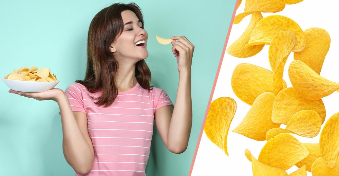 Tjej som äter chips