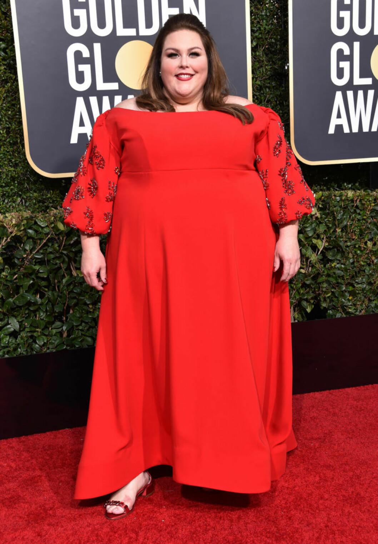 Chrissy Metz klädd i rött på Golden Globe