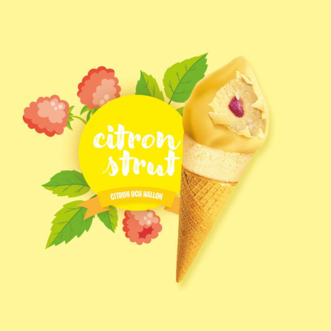 En strut med gul glass