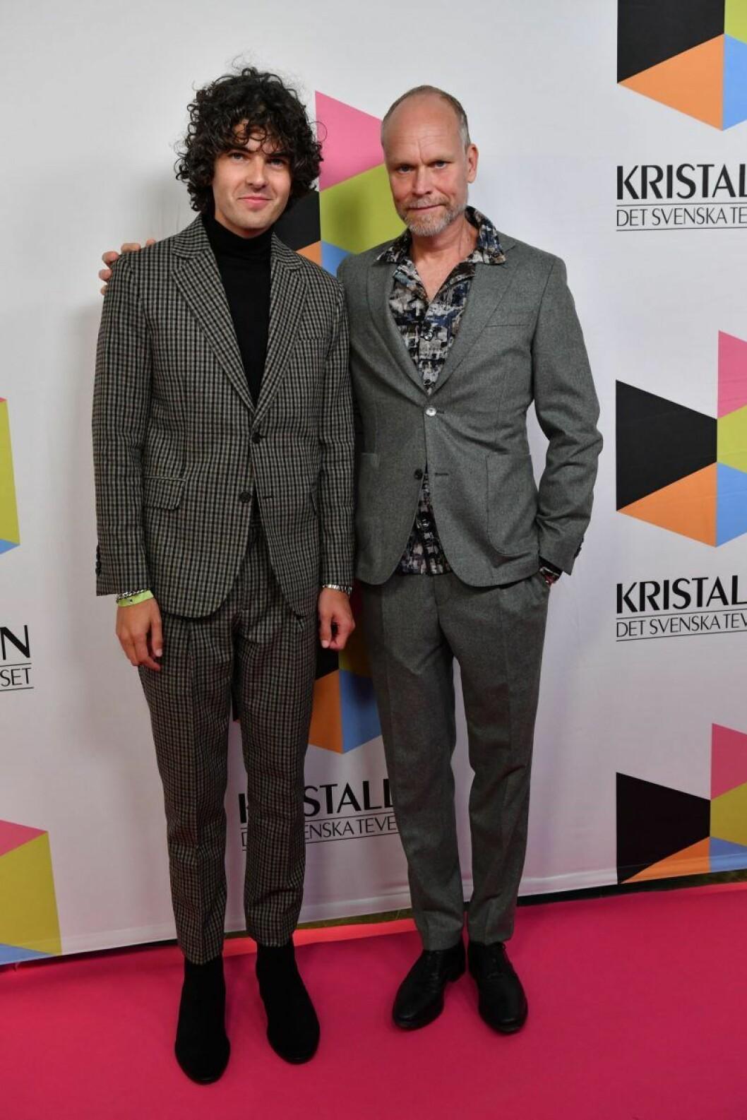 Daniel Hallberg och Kristian Luuk på röda mattan på Kristallen 2019