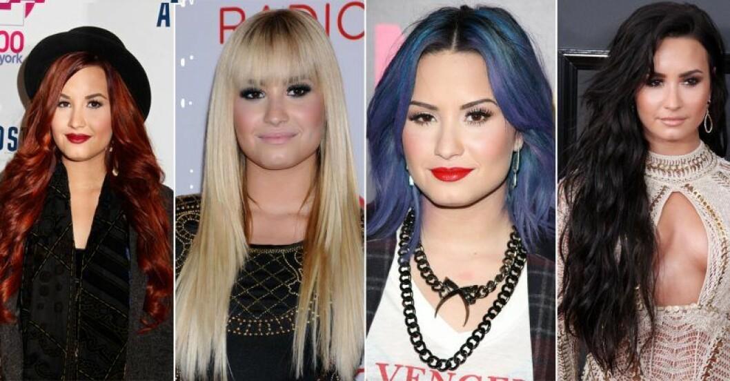 Demi Lovato har rött, blått, svart och blont hår
