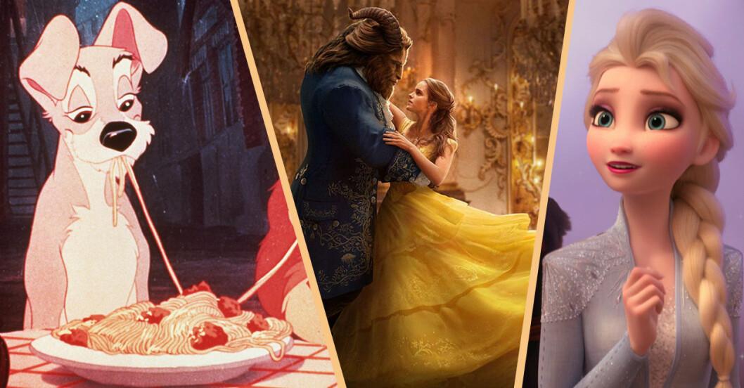 Elsa från Frost, skönheten och odjuret och Lufsen som äter pasta