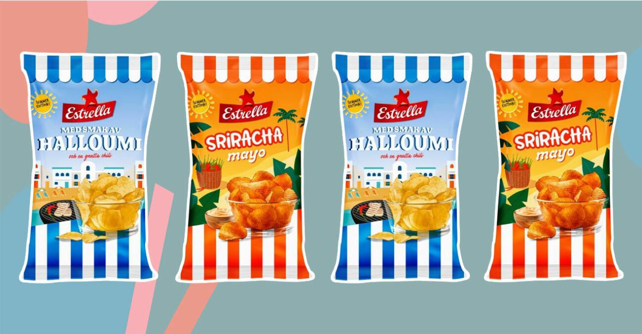 estrellas chips med smak av halloumi och srirachamayo