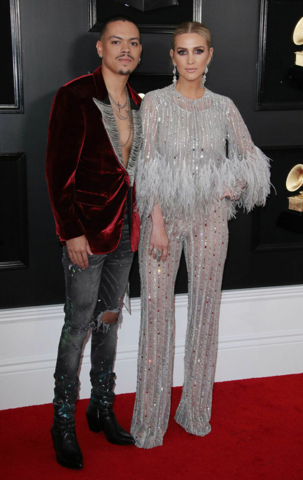 Evan Ross och Ashlee Simpson på Grammy Awards 2019