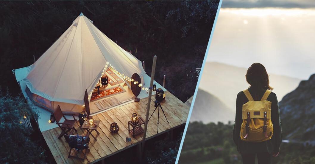 Tält och glamping. Tjej som kollar ut över horisonten.