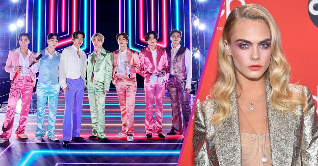 BTS och Cara Delevingne på AMA 2020.