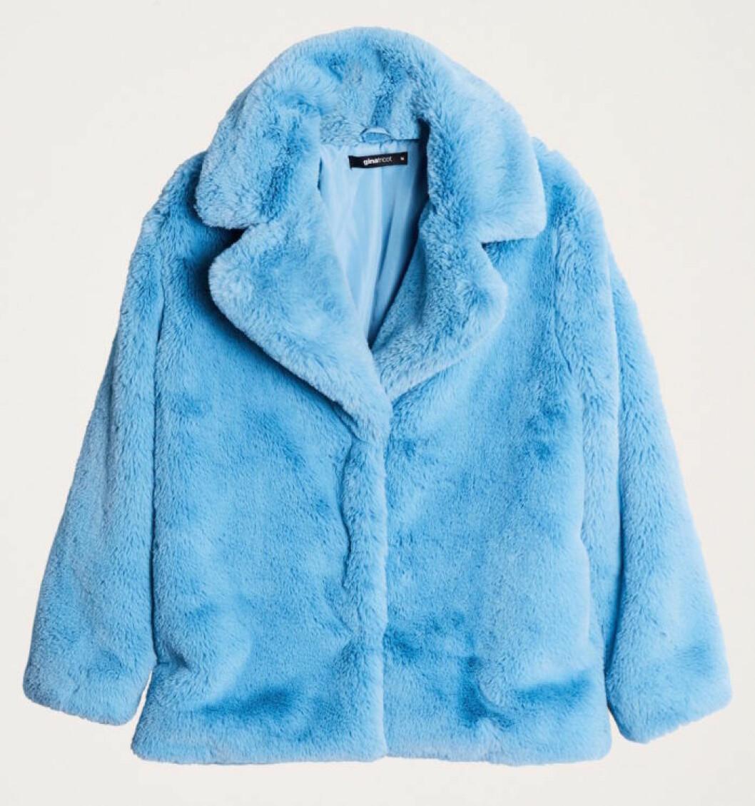 Blå fuskpäls för dam