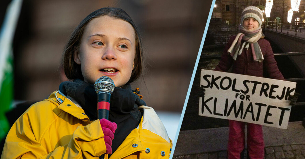 Greta Thunberg strejkar