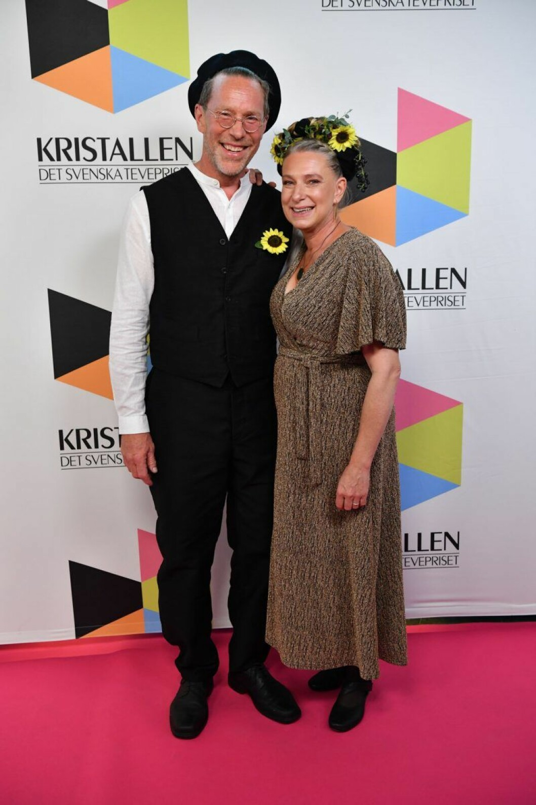 Gustav Mandelmann och Marie Mandelmann på röda mattan på Kristallen 2019