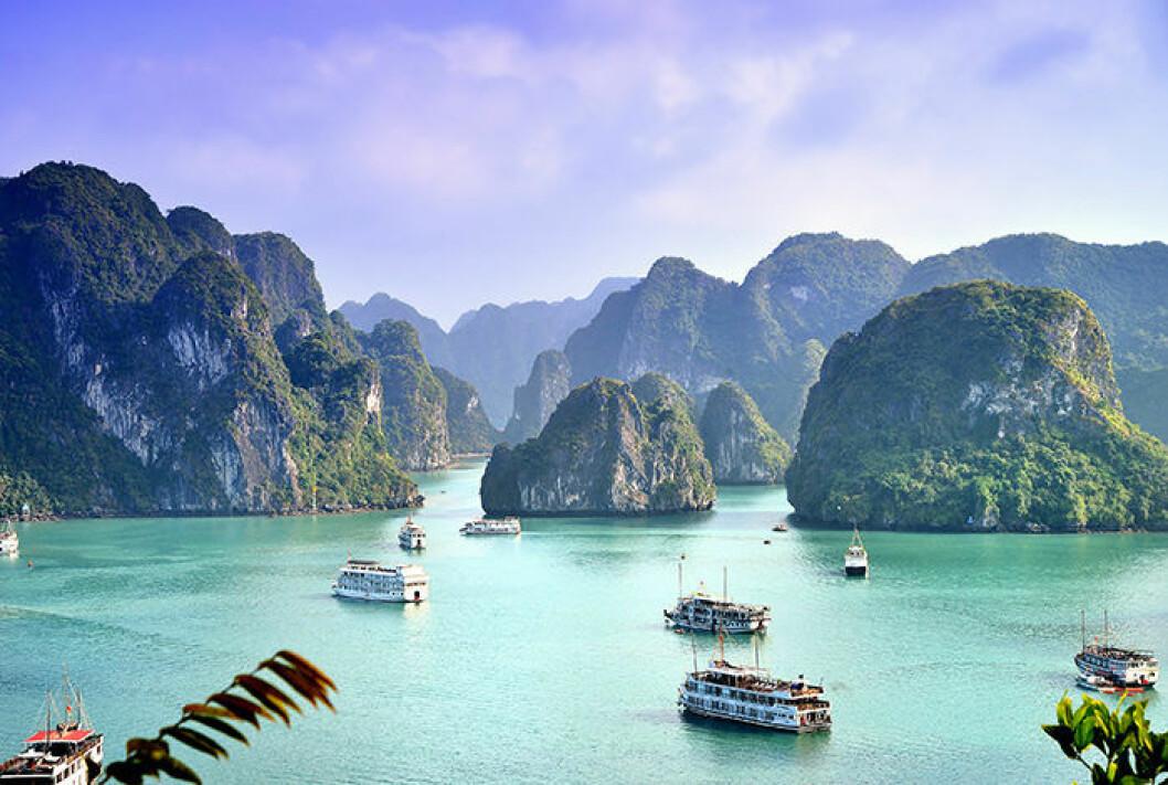 Halong-bukten i Vietnam
