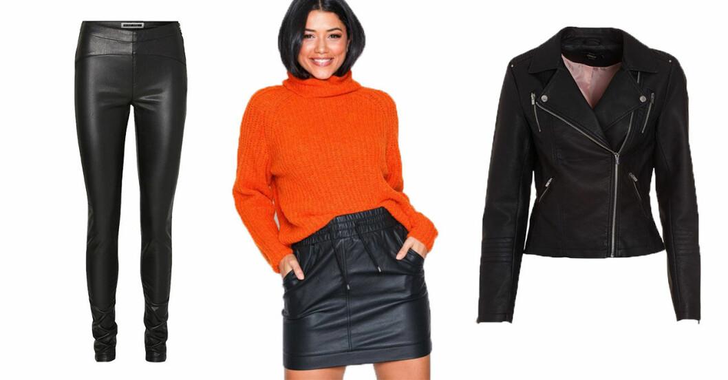 Hösten 2018 kommer det att vara trendigt med plagg i läder- och skinnimitation.