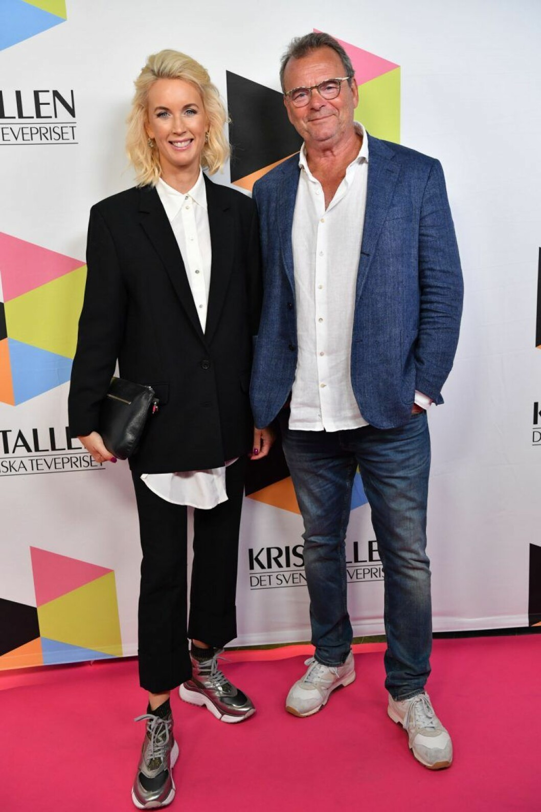 Jenny Strömstedt och Steffo Törnquist på röda mattan på Kristallen 2019