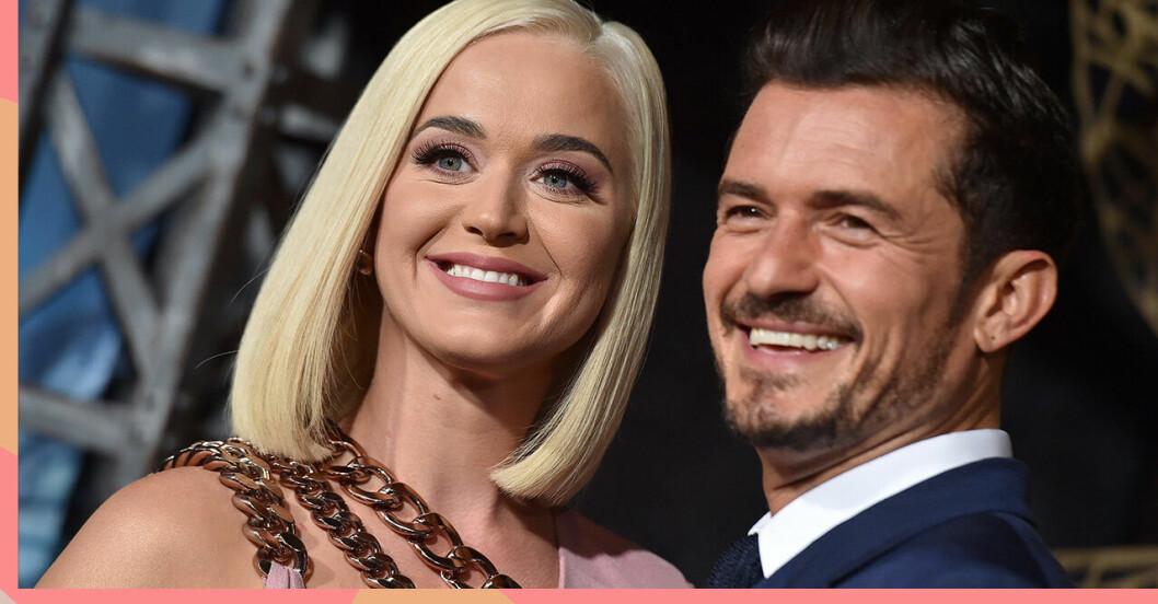 Katy Perry och Orlando Bloom ler stort