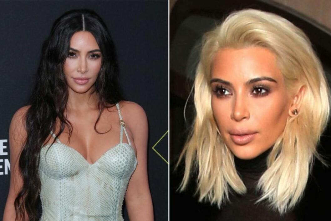 Kim Kardashian i mörkt hår och i blont kort hår