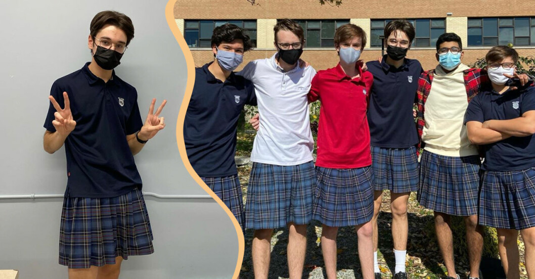 100 tonårskillar kom till skolan i kjol – i protest mot orättvisorna för tjejkompisarna