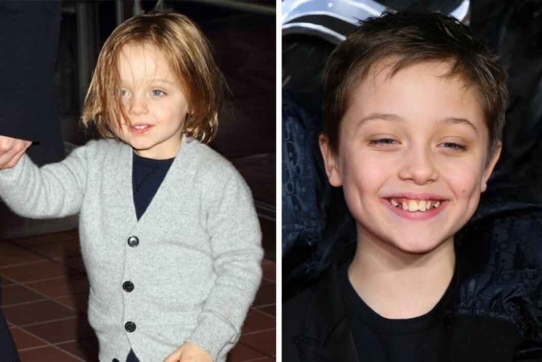 Knox Jolie-Pitt som barn och som glad 11-åring