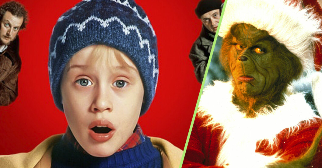 Kollage med scener från filmerna Ensam hemma och Grinchen