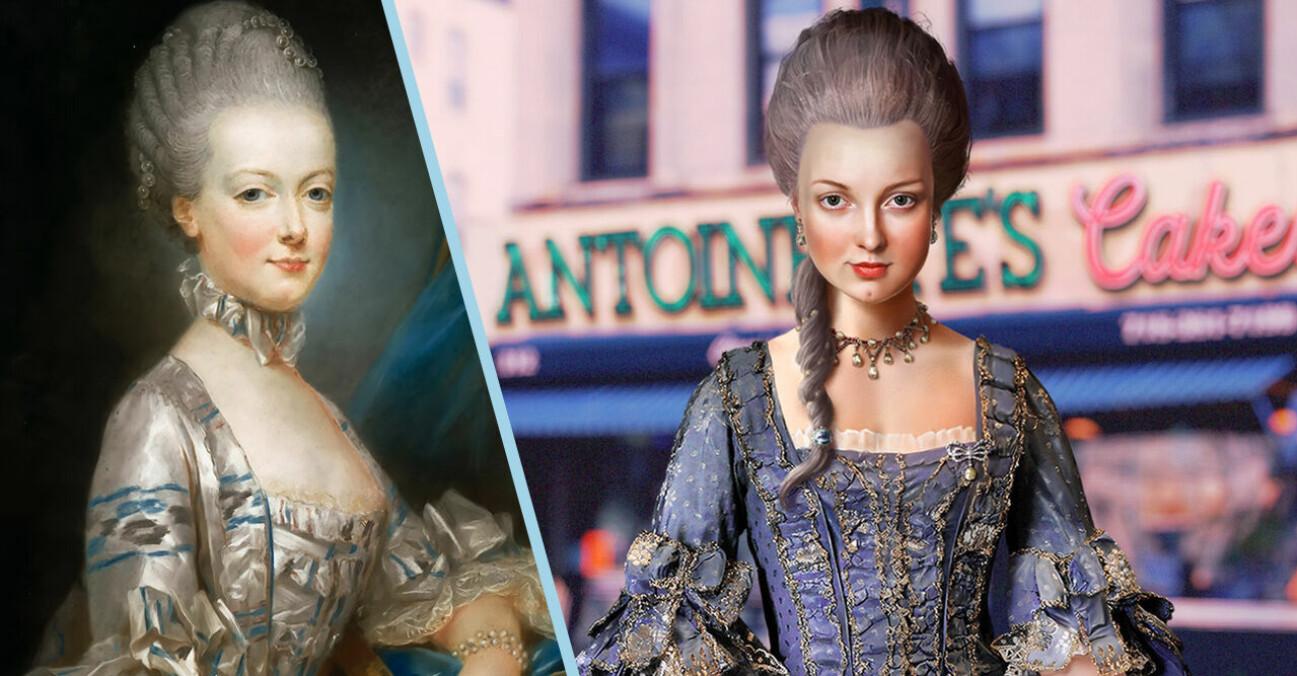 Bild på Marie Antoinette från 1700-talet och en ny bild av hur hon troligen skulle se ut idag 2021.