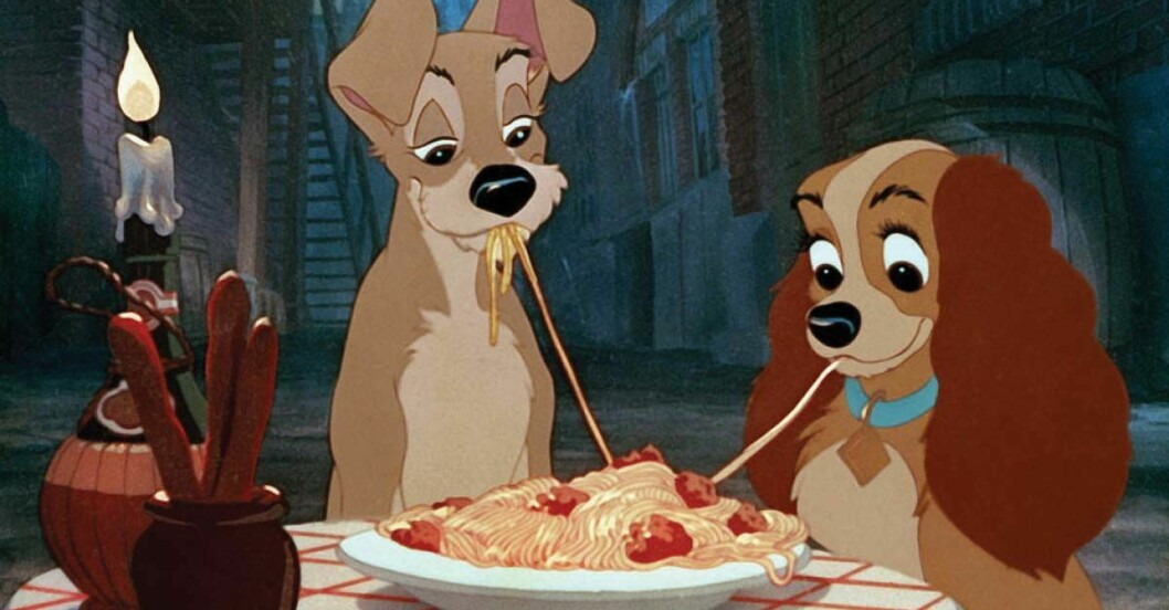 lady och lufsen äter spaghetti