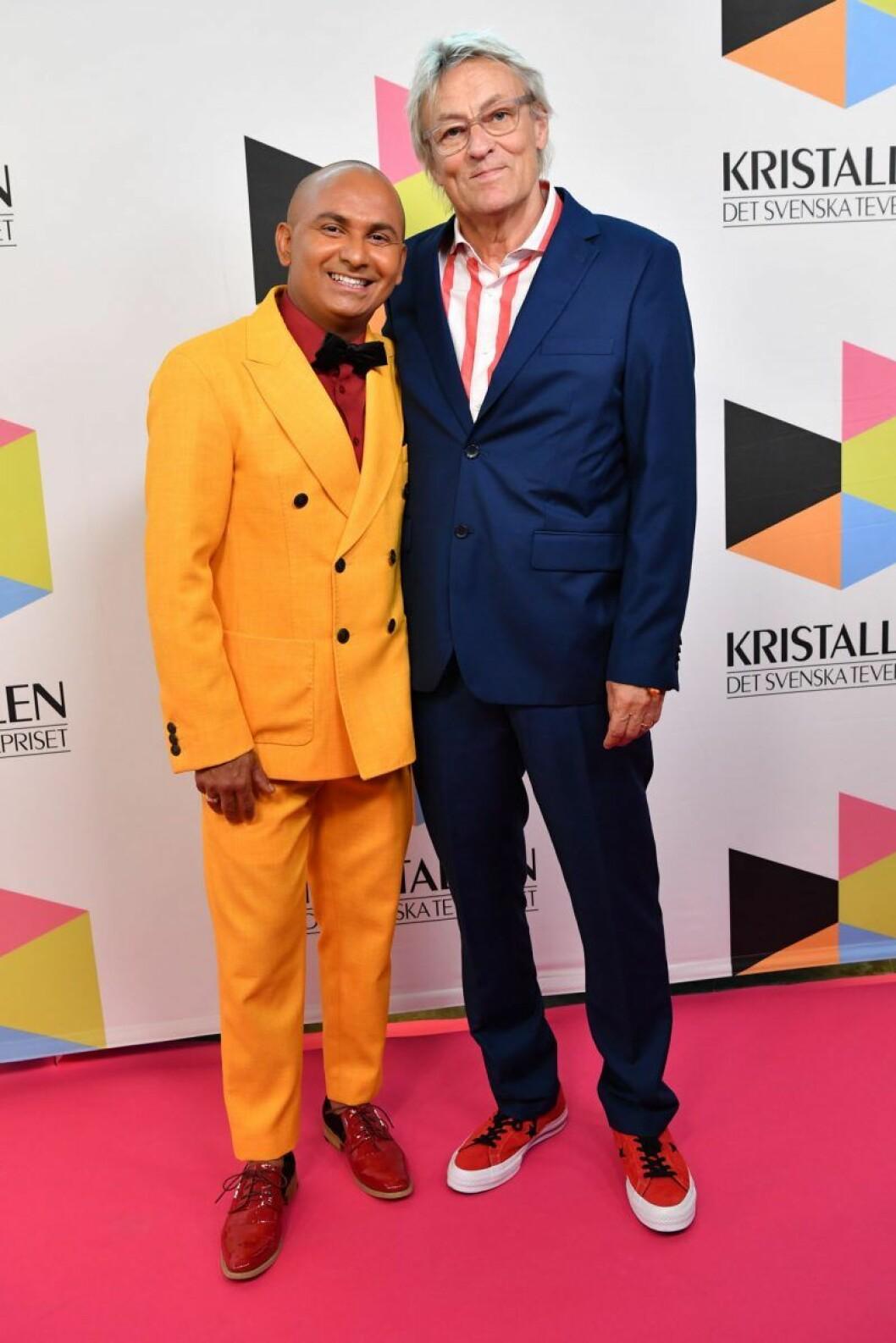 Lars Lerin och Manoel Marques på röda mattan på Kristallen 2019