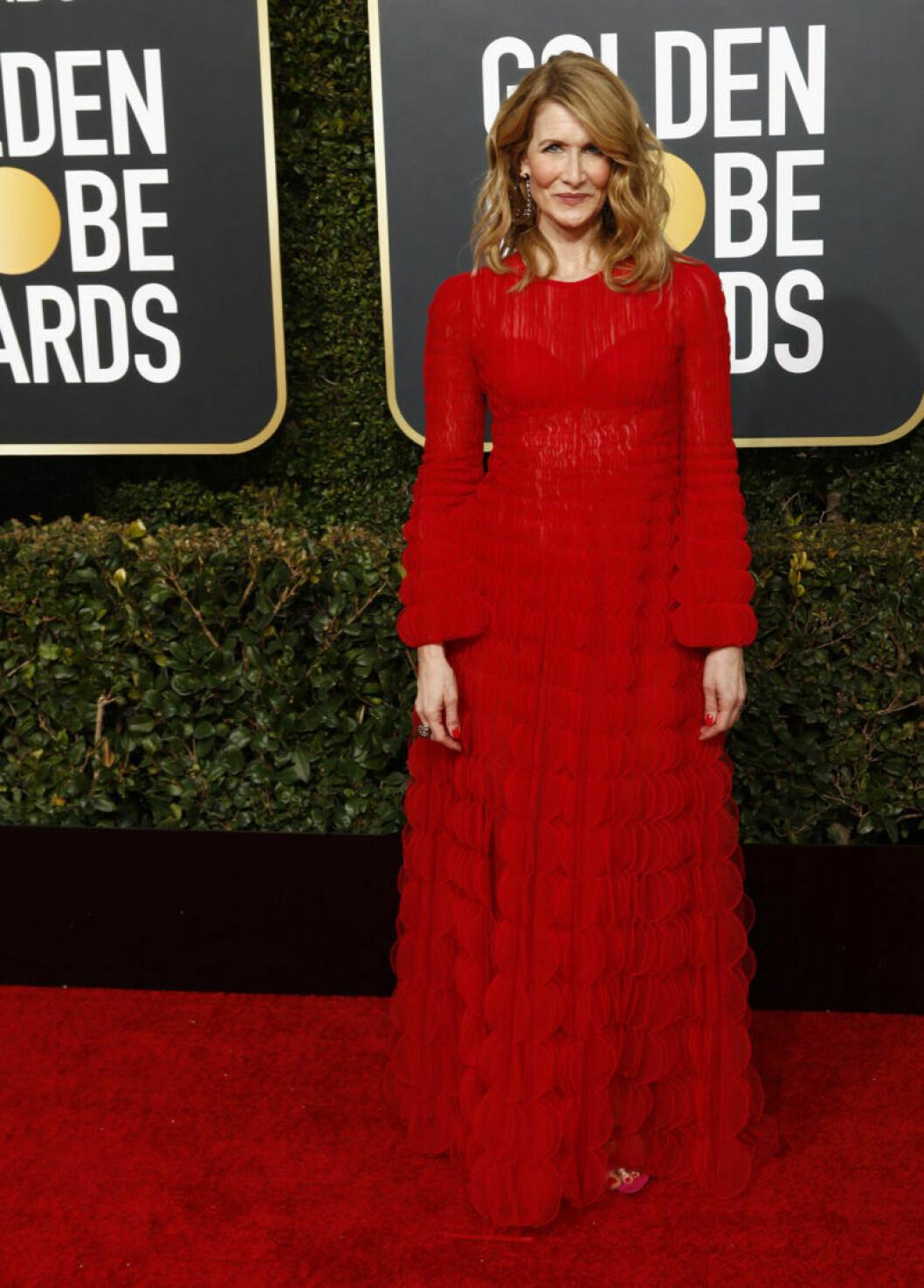 Laura Dern på röda mattan på Golden Globe