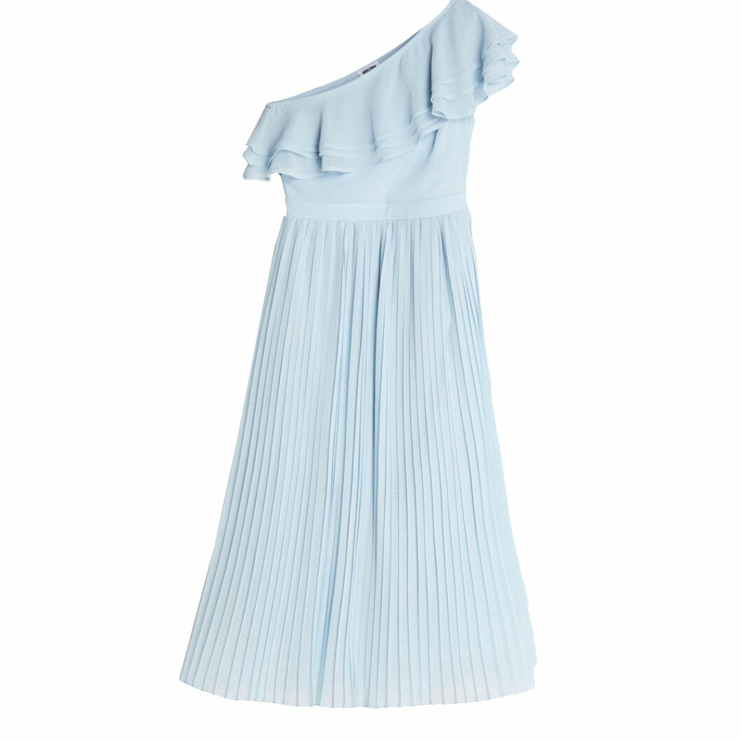 Ljusblå one shoulder-klänning
