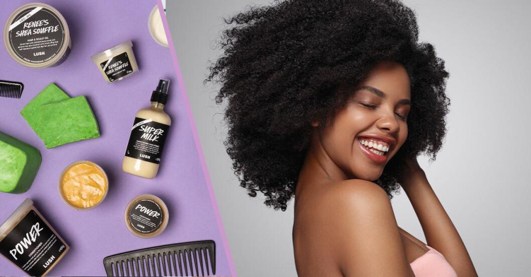 en kvinna med afrohår skrattar