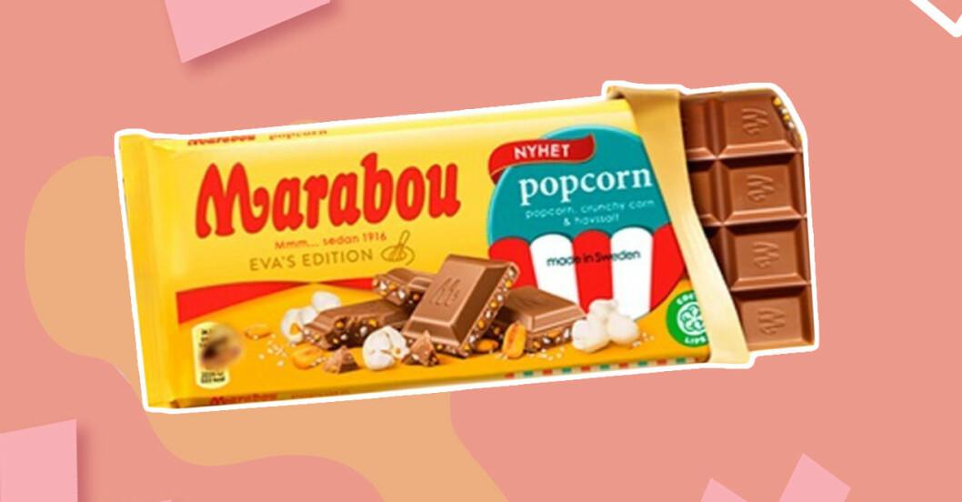 marabou med smak av popcorn, crunchy corn och havssalt