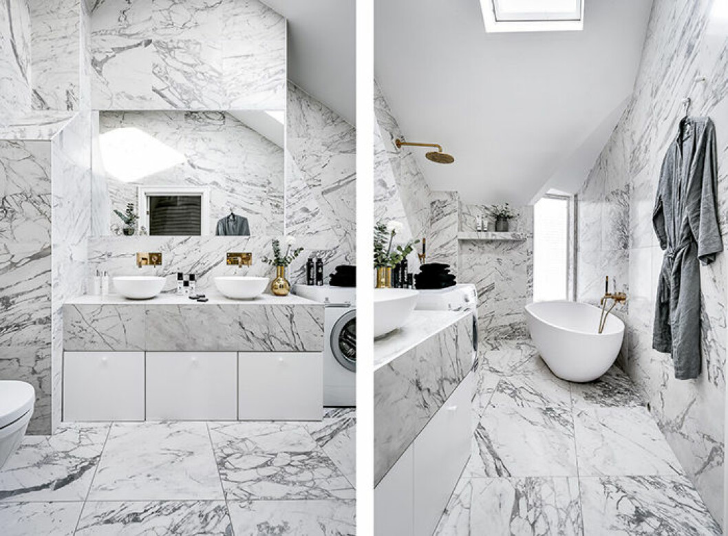 Vackert badrum i marmor hos Margaux Dietz