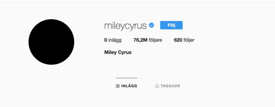 Miley Cyrus har raderat alla sina bilder på sitt Instagram-konto.