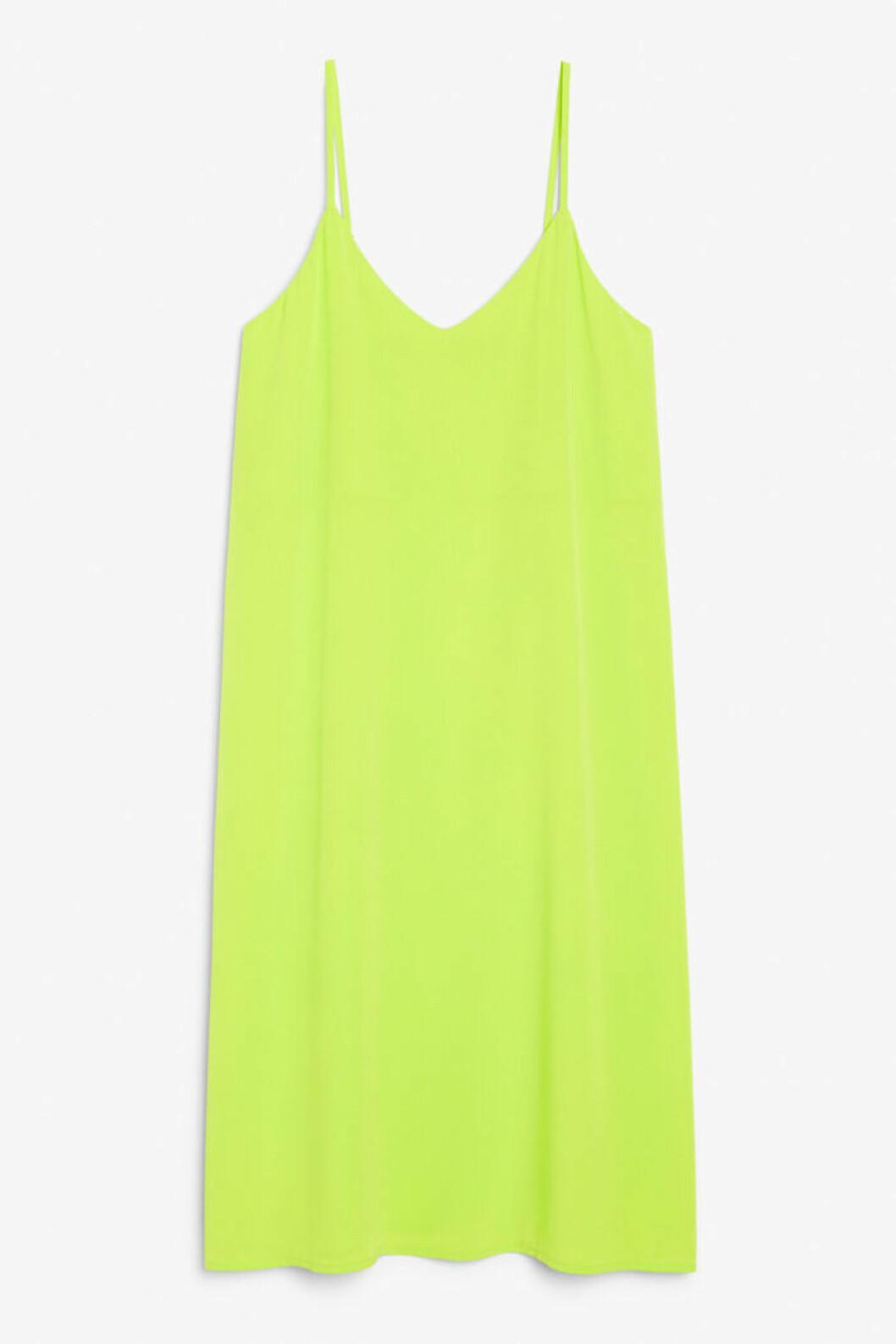 Neongrön klänning med tunna band för dam till 2019