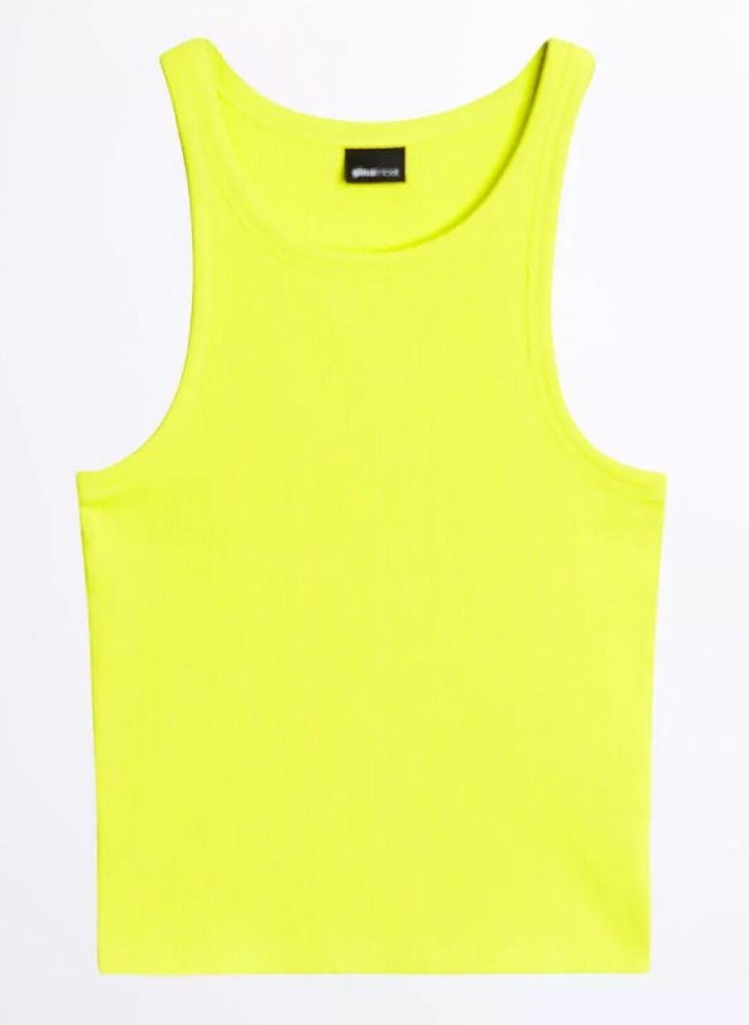 Neongult linne i ribbstickat material