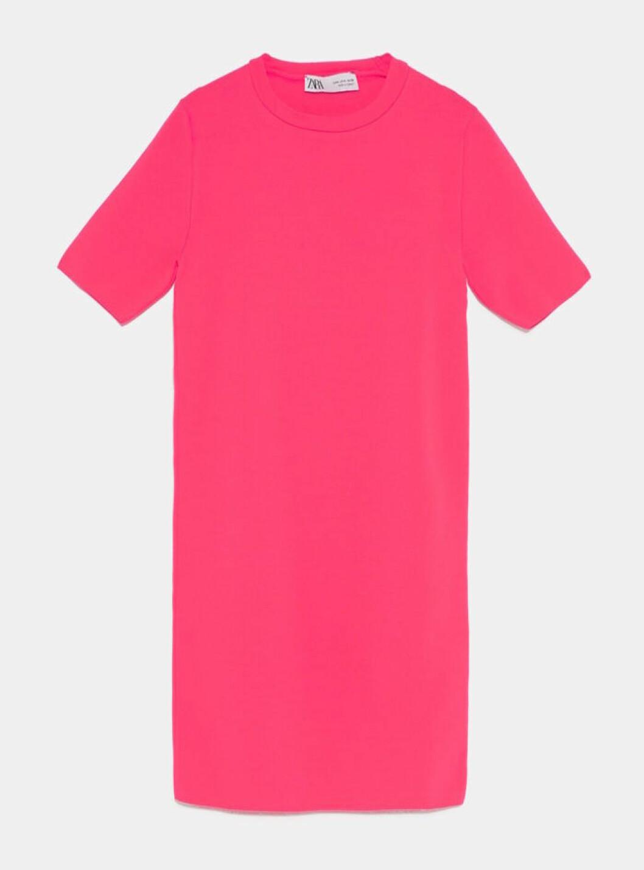 Neonrosa klänning med kort ärm 2019