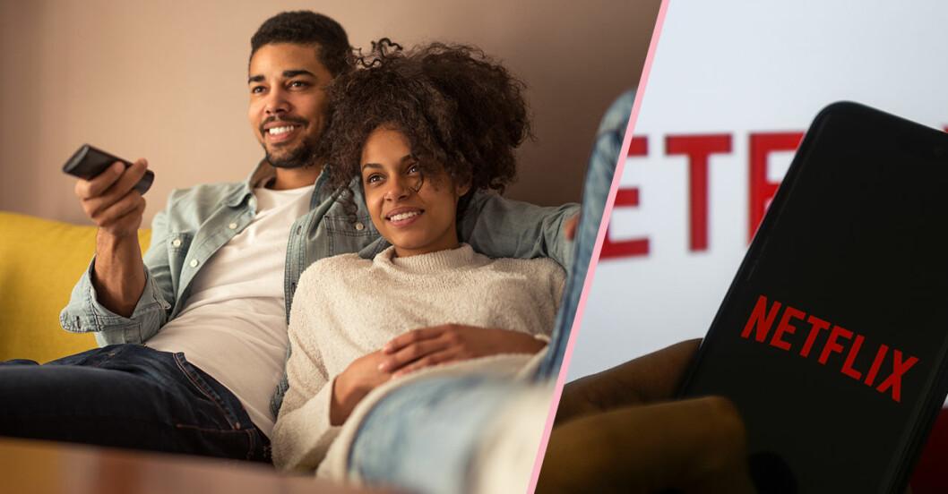 Par sitter i soffan och kollar tv