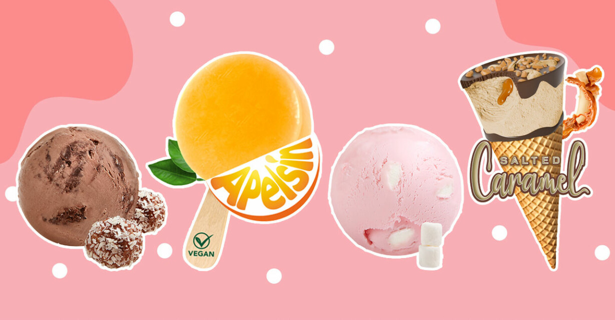 nya smaker från sia glass 2021, kulglass med smak av chokladboll, apelsin, kulglass med smak av marshmallow samt strut med smak av salt karamell