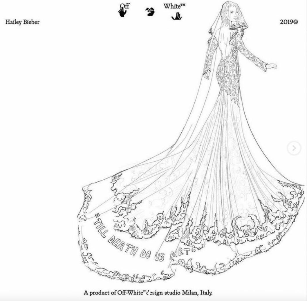 Off-White-skiss av Hailey Biebers bröllopsklänning