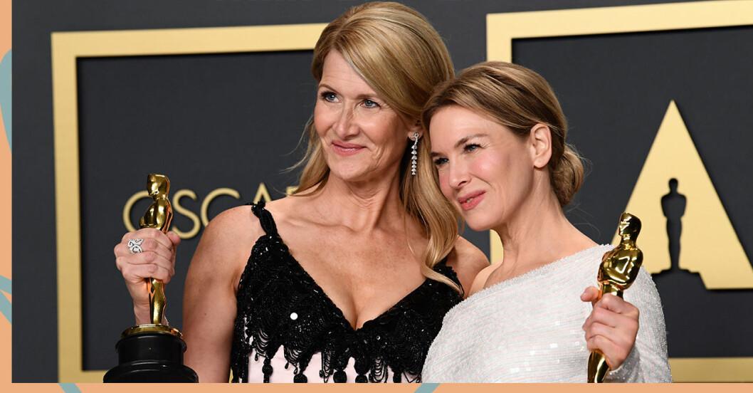 2020 års kvinnliga biroll Laura Dern och kvinnliga huvudroll Renée Zellweger.