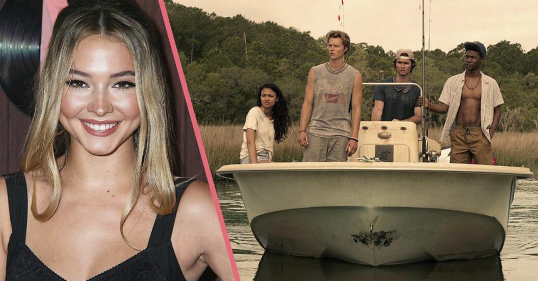 Fyra personer åker båt i Outer banks