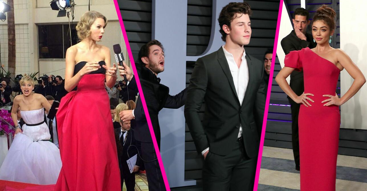 Jennifer Lawrence photobombar Taylor Swift, Lupita Nyong'o, Zedd photobombar shawn mendes, Wells Adams photobombar Sarah Hyland