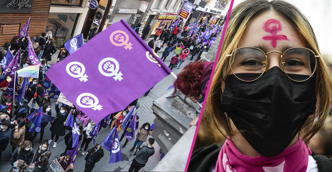 bild på kvinnor som protesterar mot våld